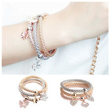 Cute 3Pcs/set Gold Silver Multilayer Rhinestone Pendant Bangle Elastic Bracelet