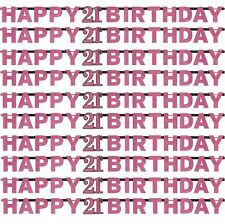 Pink Sparkling Happy 21st Birthday Letter Banner | Party Decoration 1-5pk