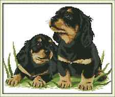 Kit broderie point de croix imprimé/compté,11CT/14CT,Cross Stitch Chiots/Dogs