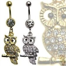 Owl Belly Ring Gold Clear CZ Gems Navel Animal Bird Dangle Body Jewelry Silver