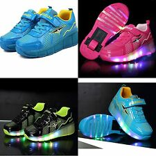Kids LED Lights Up Roller Skate Heelys Luminous Sneakers Casual Sportswear Shoes