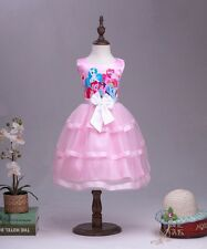 New Baby Girls My Little Pony Dress Party Pageant Layered Bowtie Princess Dress