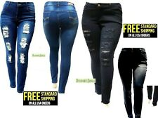 SL 1826 WOMENS PLUS SIZE Stretch Distressed Ripped BLUE SKINNY DENIM JEANS PANTS