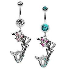 Mermaid  Pink Fuchsia Teal Clear Belly Ring Navel Dangle CZ Body Jewelry Sexy