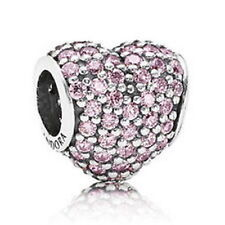 GENUINE PANDORA S925 ALE STERLING SILVER PINK PAVE HEART CHARM IN POP-UP B0X