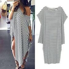 Summer Women's Long Maxi Loose Casual Dress Striped Off-shoulder Evenning Party