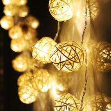 20Wicker Rattan Ball LED String Fairy Light Wedding Party Christmas Decor Warm