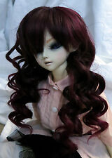 Doll Wig Long Layered Curly Brown, Burgundy BJD Ball Jointed Size 7, 8, 9,10 NEW