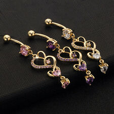 Hot Sale Reverse Belly Ring Dangle Clear Navel Bar Gold Body Jewelry Piercing