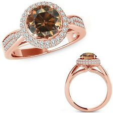 1 Carat Champagne Diamond Double Round Halo Anniversary Fancy Ring 14K Rose Gold