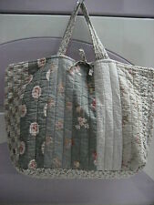 Quilted Cotton Linen Chic Shabby Patchwork Rose Floral Vintage Style Tote Bag