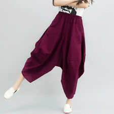 Women Linen Cotton Loose Harem Pants Casual Baggy Elastic Waist Low Crotch Pants
