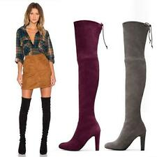 3Colors Womens Over the Knee Boot Slouch High Heel Suede Leather Thigh High Boot