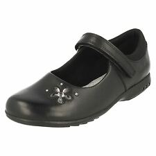 Clarks 'Trixie Candy' Girls Black Leather Light Up School Shoes F Fit