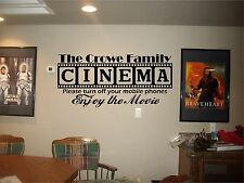 Cinema Theatre Theater personalized decal home movie vinyl wall decor mural sign