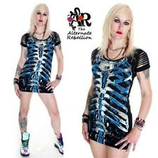 BANNED BLUE RIBCAGE LONG TOP / MINI DRESS GOTH EMO PUNK GOTHIC ALTERNATIVE