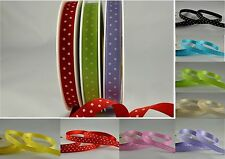 POLKA DOT 10mm SATIN RIBBON X 25 METRE FULL ROLL- CHOICE OF 8 COLOURS
