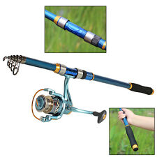 Travel Fishing Rod with Spinning Fishing Reel Sets Telescopic Fishing Combos Kit