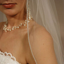 "Sheer Wedding Veil Elbow Length 30"" Long Rhinestones Edge Bridal Veil with Comb"