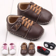 Toddler Infant Baby Boys Girls Faux Leather First Shoes Handtailor Soft Sole New