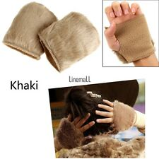 New Women Warm Faux Fur Fingerless Gloves Wrist Hand Warmer Mittens Mitt LM