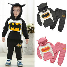 2Pcs Kids Boys Batman Hoodie Sweatshirt Coat Tops + Pants Outfits Clothes Sets