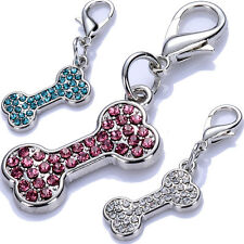 Dog Tag Crystal Jewelry Pendant Bone Shaped Collar Charms Puppy Pet Accessories