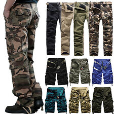 Mens Military Army Cargo Combat Camo Camouflage Work Pants Trouser Casual Shorts