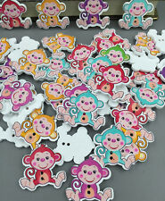 DIY multicolor Monkey Pattern Wooden Buttons Fit Sewing and Scrapbook 29mm
