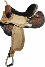 Double T Black Suede Seat Barrel Saddle with Barrel Racer Conchos