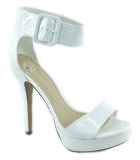 Delicious High Heels Women Buckled Strap Platform Open Toe White Patent ZELENA-S