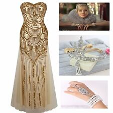 1920s Great Gatsby Flapper Party Gown Dress  with 1 Hair Band and 1 Bracelet Set