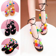 Women Flat Gladiator Sandal Lace Up Ball Flower Ankle Calf Strappy Beach Shoe