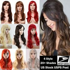 curly and Straight Women Ladies Costume Wigs Real Thick Synthetic Full Head Wig