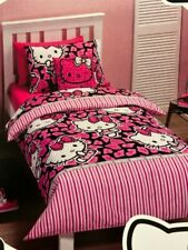 HELLO KITTY Hot Pink bows SINGLE or DOUBLE choice QUILT/DOONA COVER SET BNIP