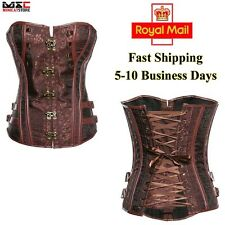 Basque Gothic Lace up Overbust Corset  Boned Brocade Steampunk Bustier Costume