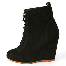 Women's rock chic Black suede lace up high wedge heels ankle boots US5.5-US8
