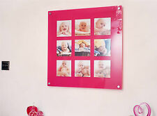 """PINK ACRYLIC magnetic 28.5"""" SQUARE multi picture photo FRAME 9X 6x6  Instagram"""