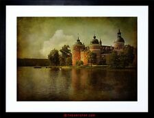 PHOTO COMPOSITION CASTLE LAKE TREES STRESSED EDGES SCENIC FRAMED PRINT F97X5240