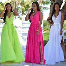 Evening Party Ball Gown Sexy V-neck Side Split Clubwear Prom Bridesmaid Dress