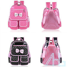 Cute Children Girls Leather Bow School Backpack Bags Primary Students Rucksack