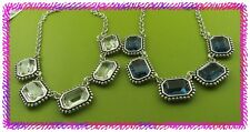BRIGHTON LE RITZ Glass Silver NECKLACE Nwtag CLEAR or BLUE  U Choose w POUCH $68