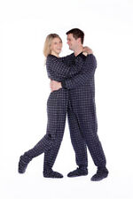 Black & White Plaid Cotton Flannel Onesie Adult Footed Pajamas w/ Drop-seat