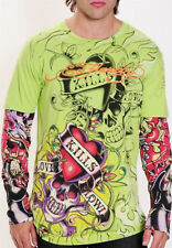 ED Hardy LOVE KILLS SLOWLY Tattoo Sleeve Lime Green T Shirt