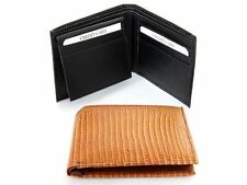 Men's Leather Bifold 7 Credit Card 1 Id Window Lizard Embossed Wallet NEW
