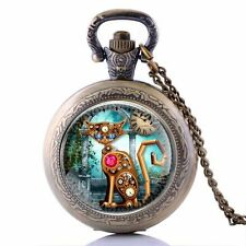 Vintage Gear Cat Pocket Retro Antique Watch Chain Quartz Pendant Steampunk Gift