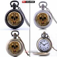 Vintage Skull Necklace Pendant Quartz Pocket Retro Watch Antique Chain Xmas Gift
