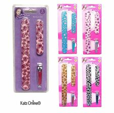 3 Pcs EMERY BOARDS & CLIPPER SET Leopard Design Manicure Sparkly Files Kit New