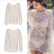 Women Sexy Semi Sheer Embroidery Floral Lace Crochet Tee T-Shirt Top Blouse WK