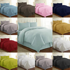 Plain Dyed Duvet Cover Polycotton Bedding Set + Pillow Case - Single,Double,King